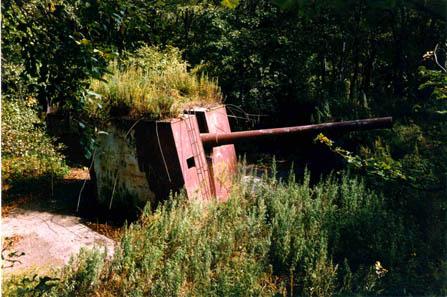 Батарея № 905 возле г. Находки. 180-мм береговая открытая артиллерийская установка МО-180. Разрезана на металл в сентябре 1997 г. при попустительстве местных властей